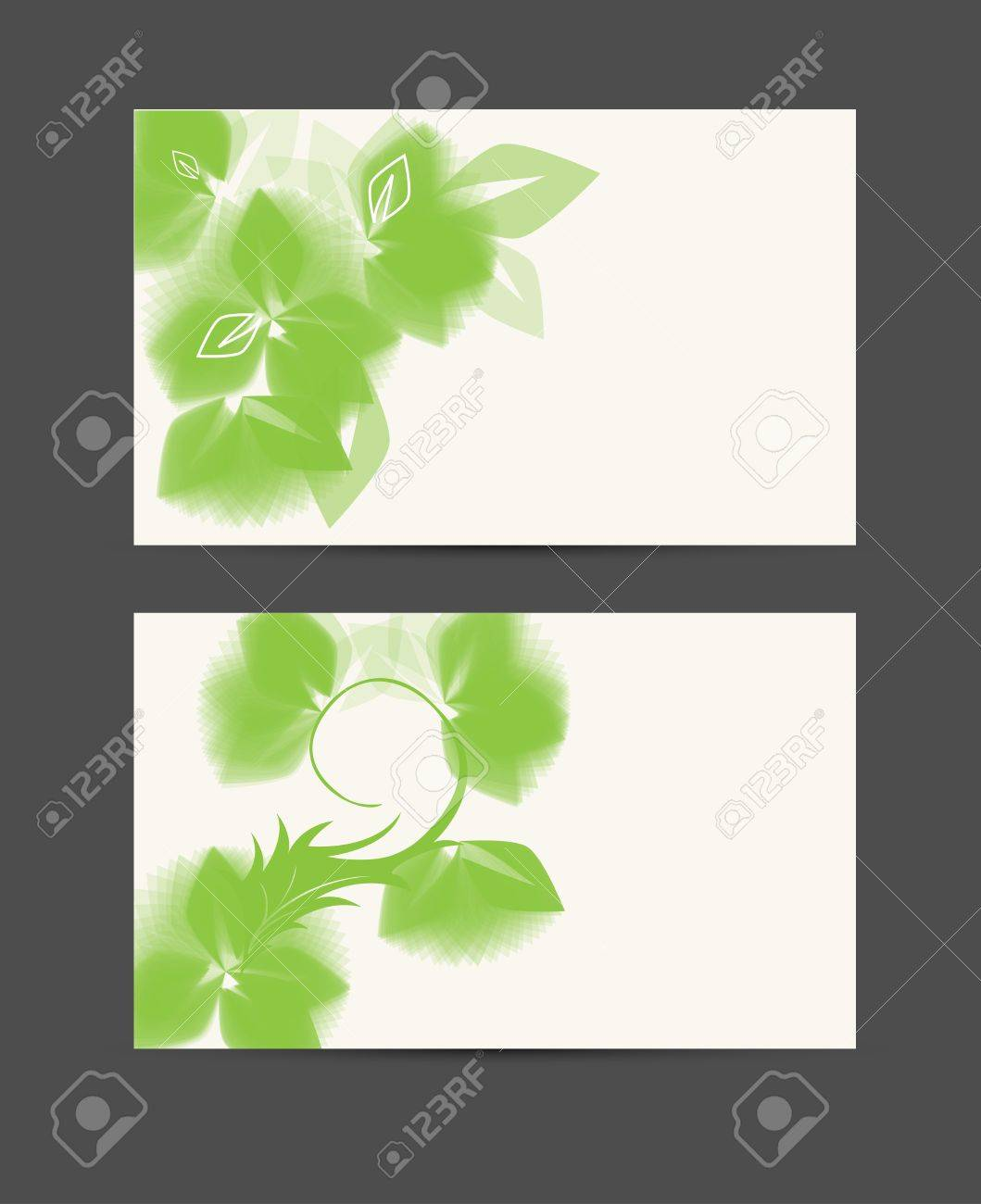 Abstract Futuristic Business Card Stylized With Green Leafage