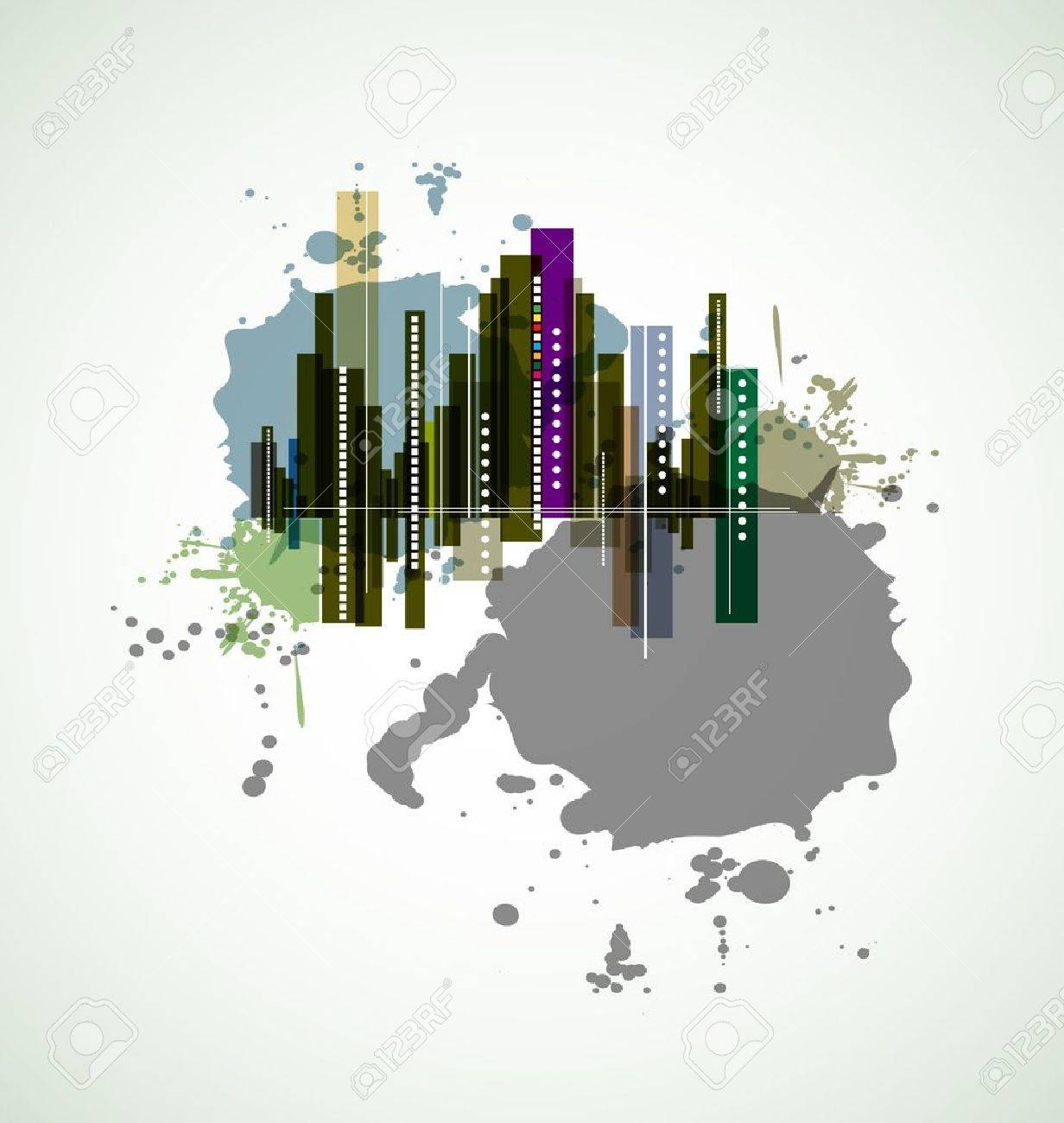 real estate city background business landscape urban Stock Vector - 14651398