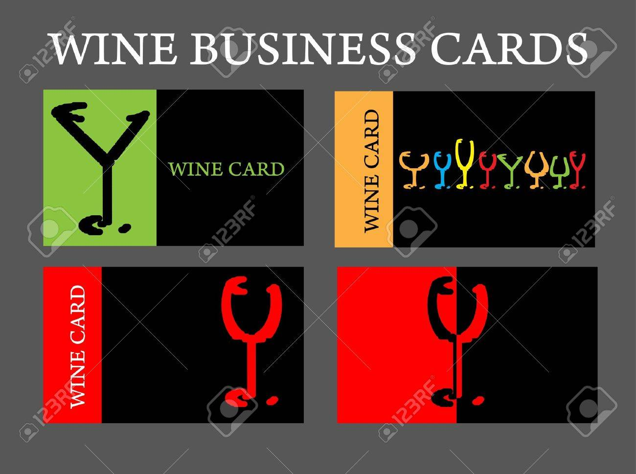 Set Of Wine Business Card Alcohol Company Royalty Free Cliparts ...