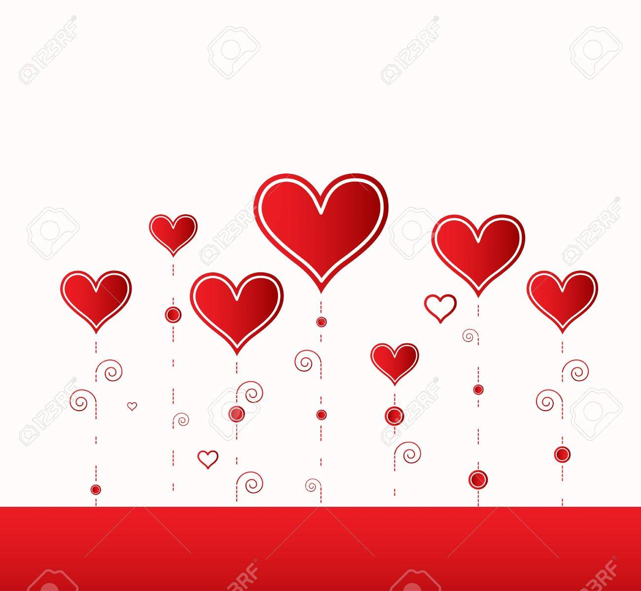 Love background with hearts valentine day card Stock Vector - 17749343