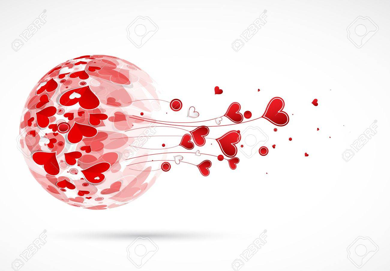 Happy valentine day ball with love hearts card Stock Vector - 17749449