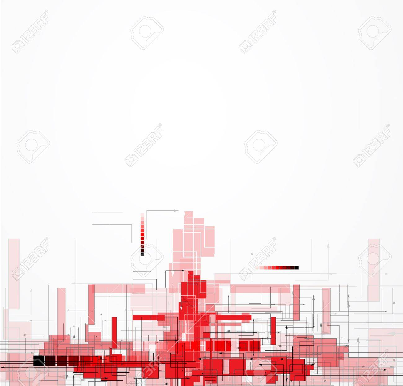 Abstract red Technology circuit background vector city illustration Stock Vector - 17985002