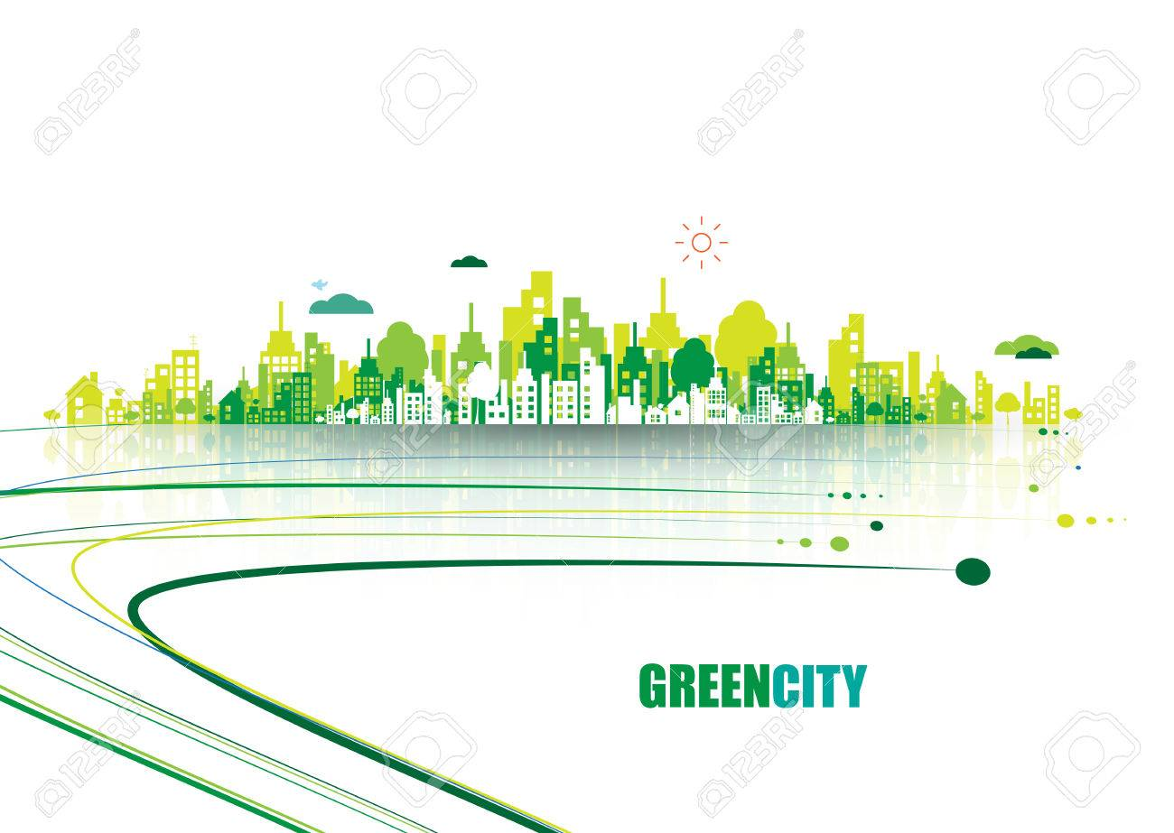 Green city. Ecology concept. Save life and environment background - 61130364