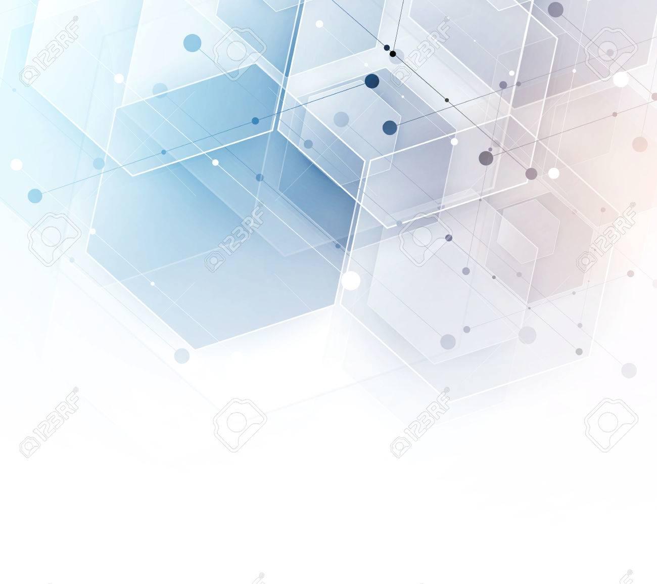 Abstract hexagon background. Technology polygonal design. Digital futuristic minimalism. Vector - 66481176