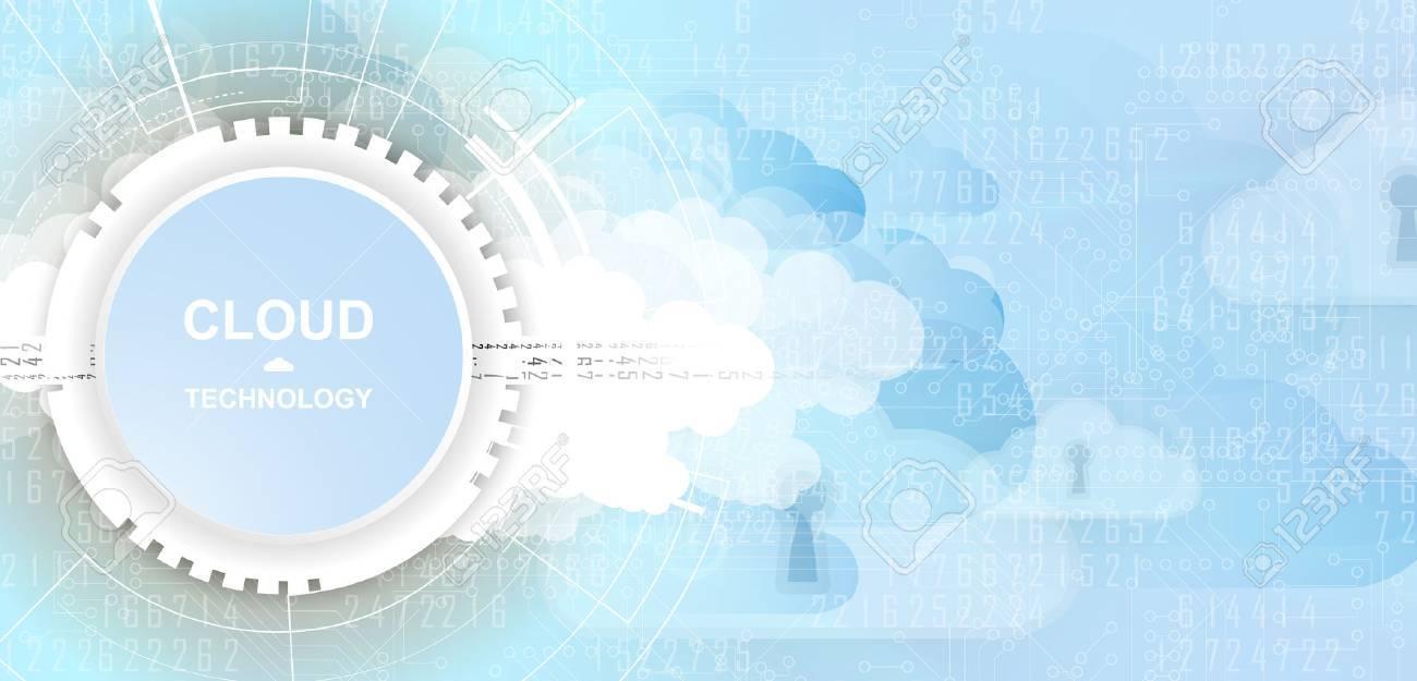 Modern cloud technology. Integrated digital web concept background - 66482610