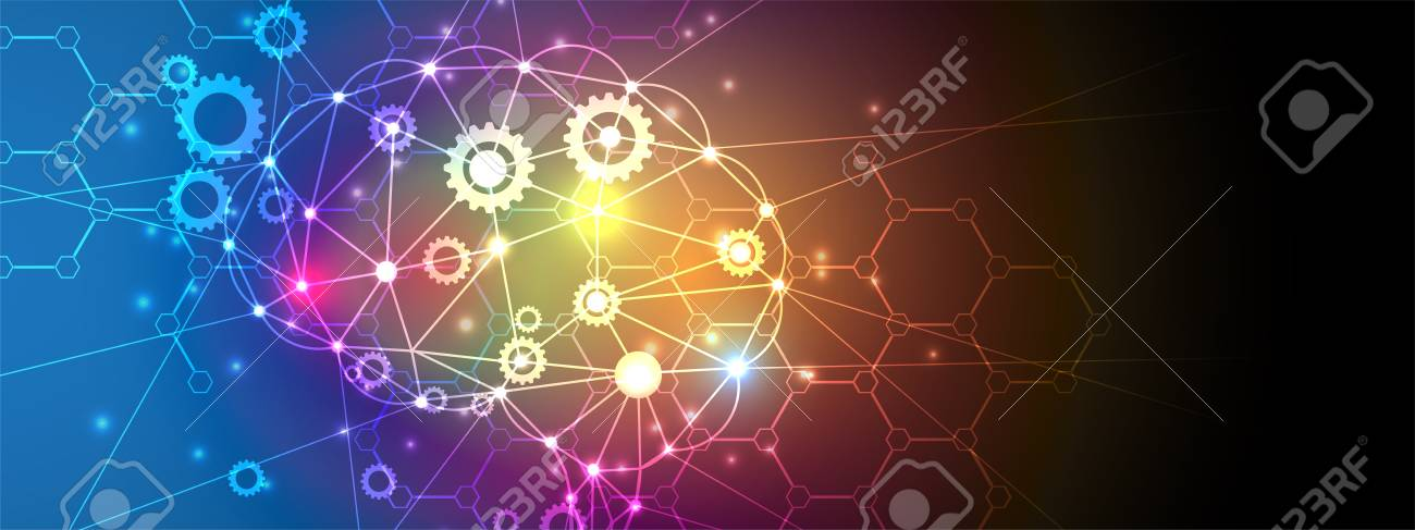 Abstract Technology with gears in colorful backdrop Virtual concept - 97968127