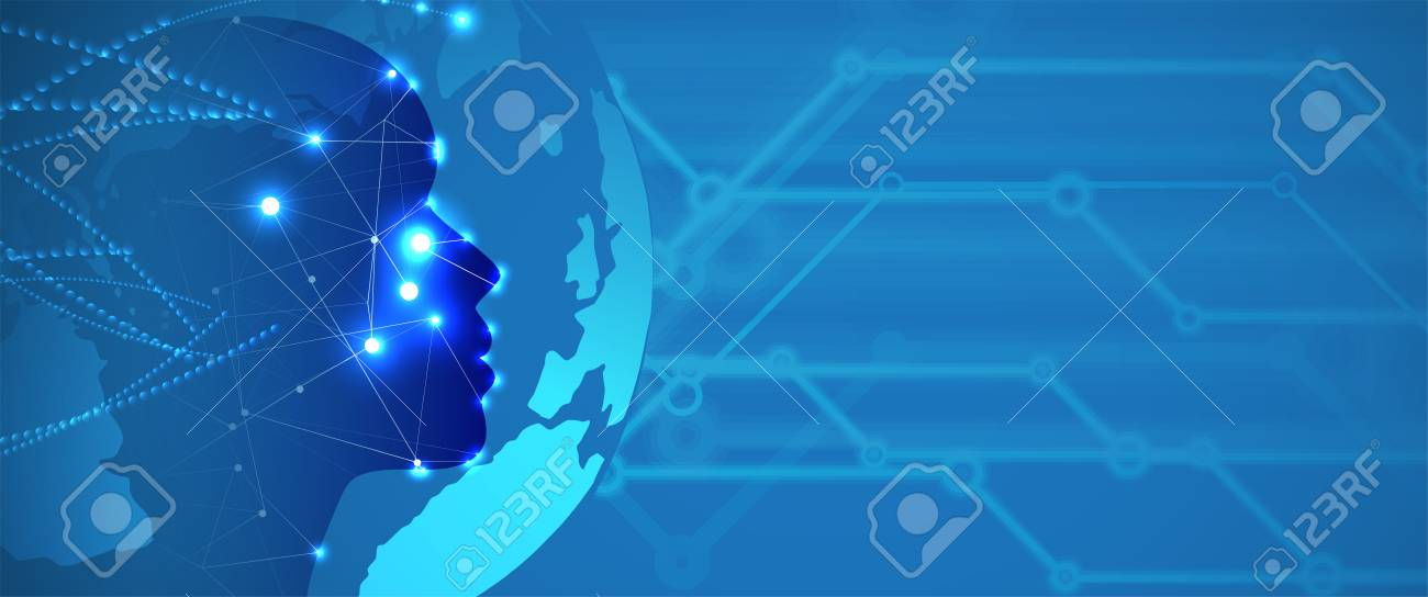 Abstract Artificial intelligence. Technology web background. Virtual concept - 97728583