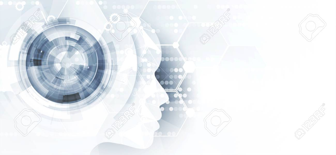 Conceptual technology illustration of artificial intelligence. Abstract futuristic background - 125112402