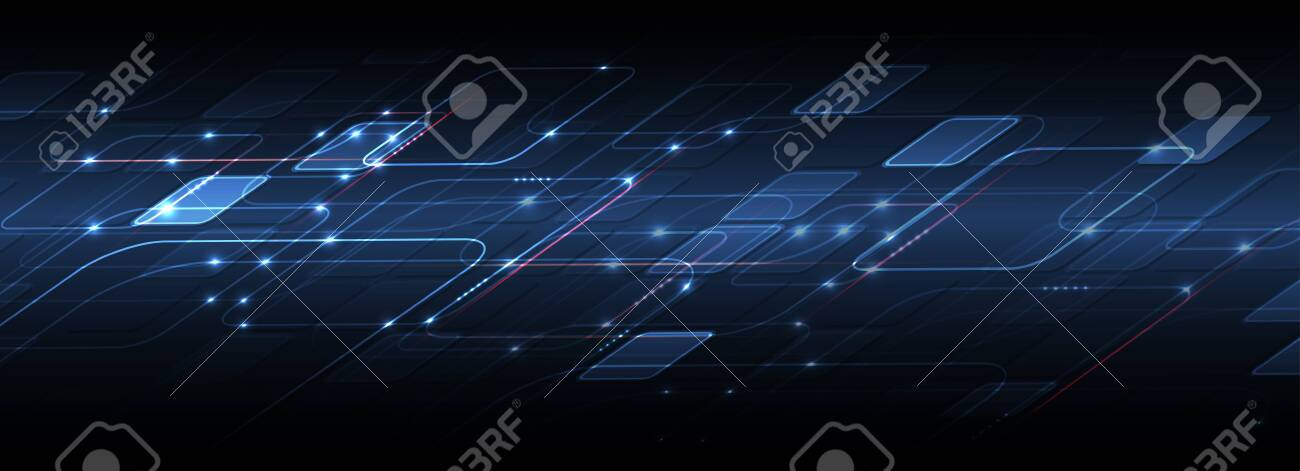 Abstract tech background. Futuristic technology interface with geometric shapes - 120425496