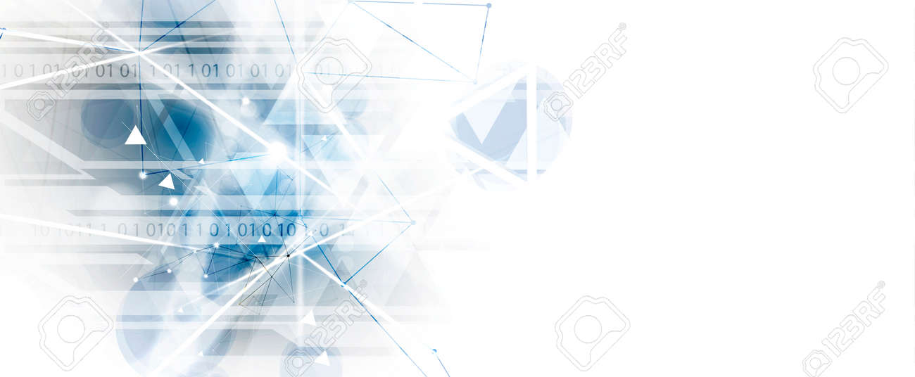 Abstract tech background. Futuristic technology interface with geometric shapes - 122682316