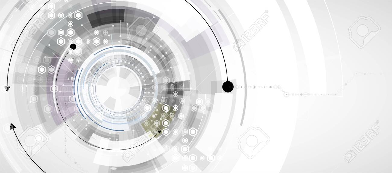 Abstract tech background. Futuristic technology interface with geometric shapes - 128919429