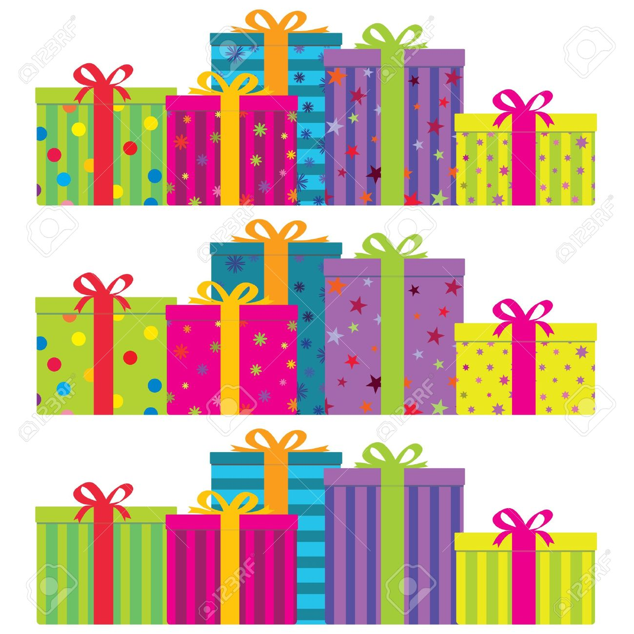 colorful gift boxes in 3 decorative styles. No gradients. Stock Vector - 9037271