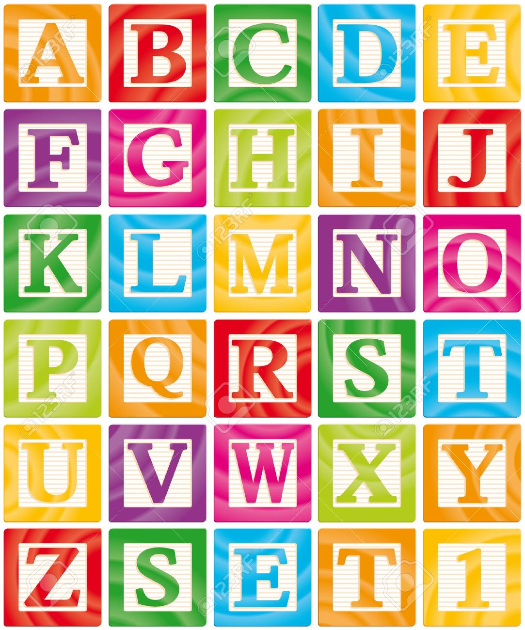Vector Baby Blocks Set 1 of 3 - Capital Letters Alphabet Stock Vector - 11102368