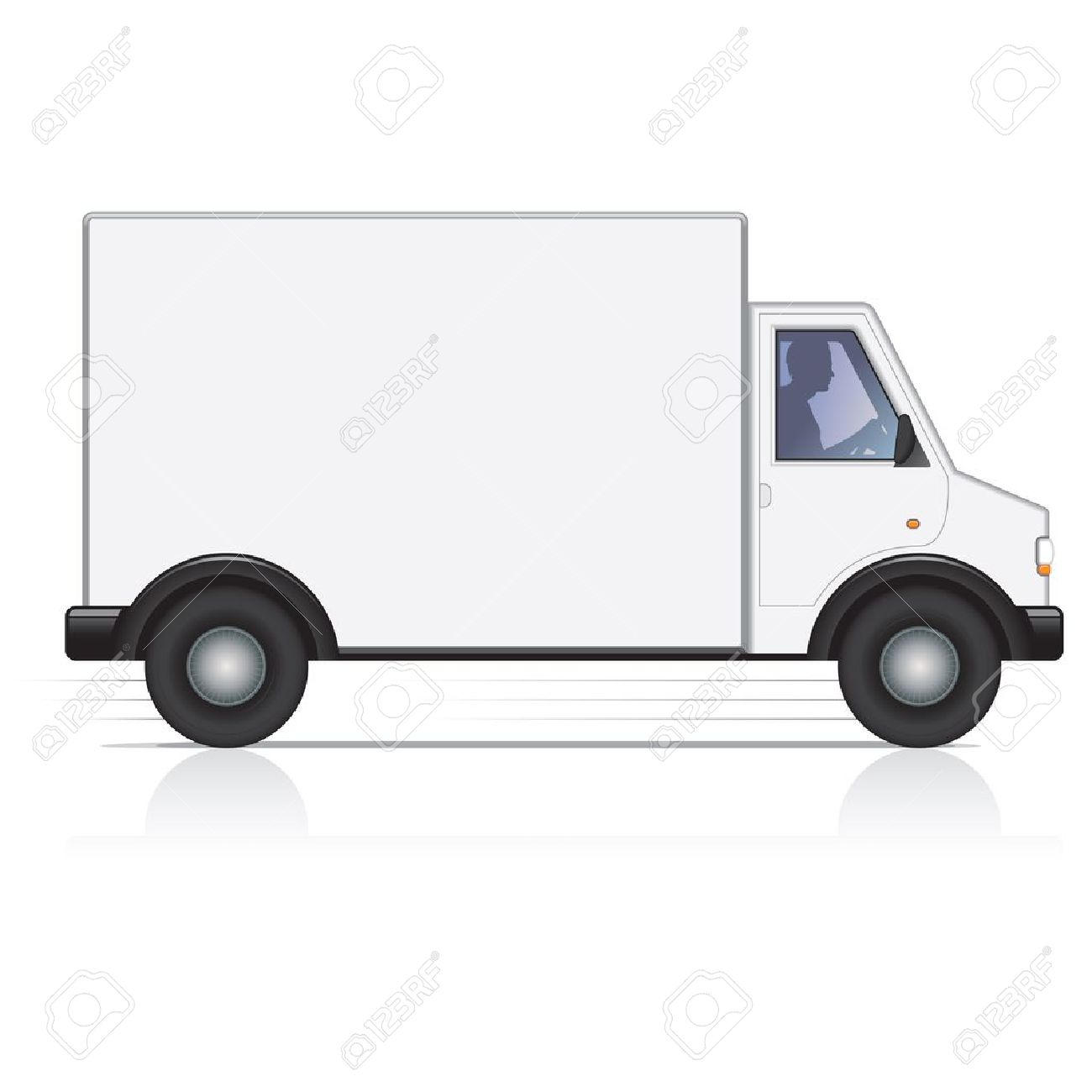 Vector white van and man driver. Isolated. - 11157646