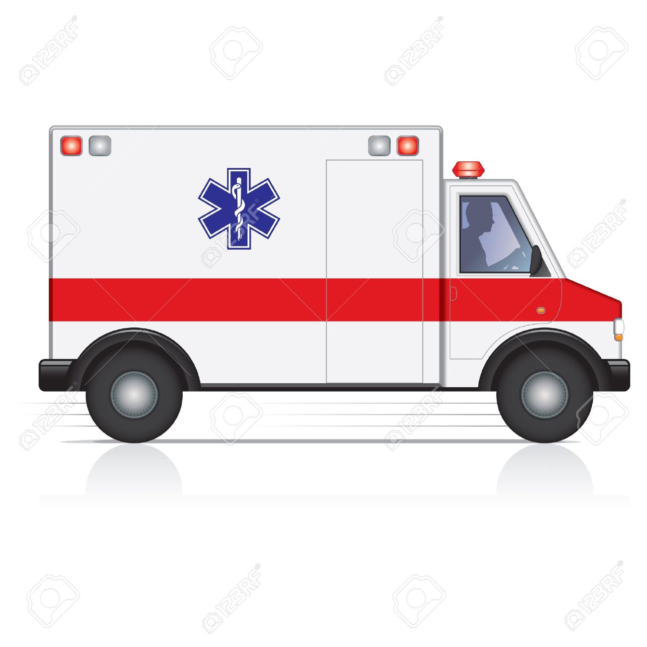 Vector Ambulance In Motion With A Driver Silhouette Royalty Free ... | {Ambulance clipart 78}