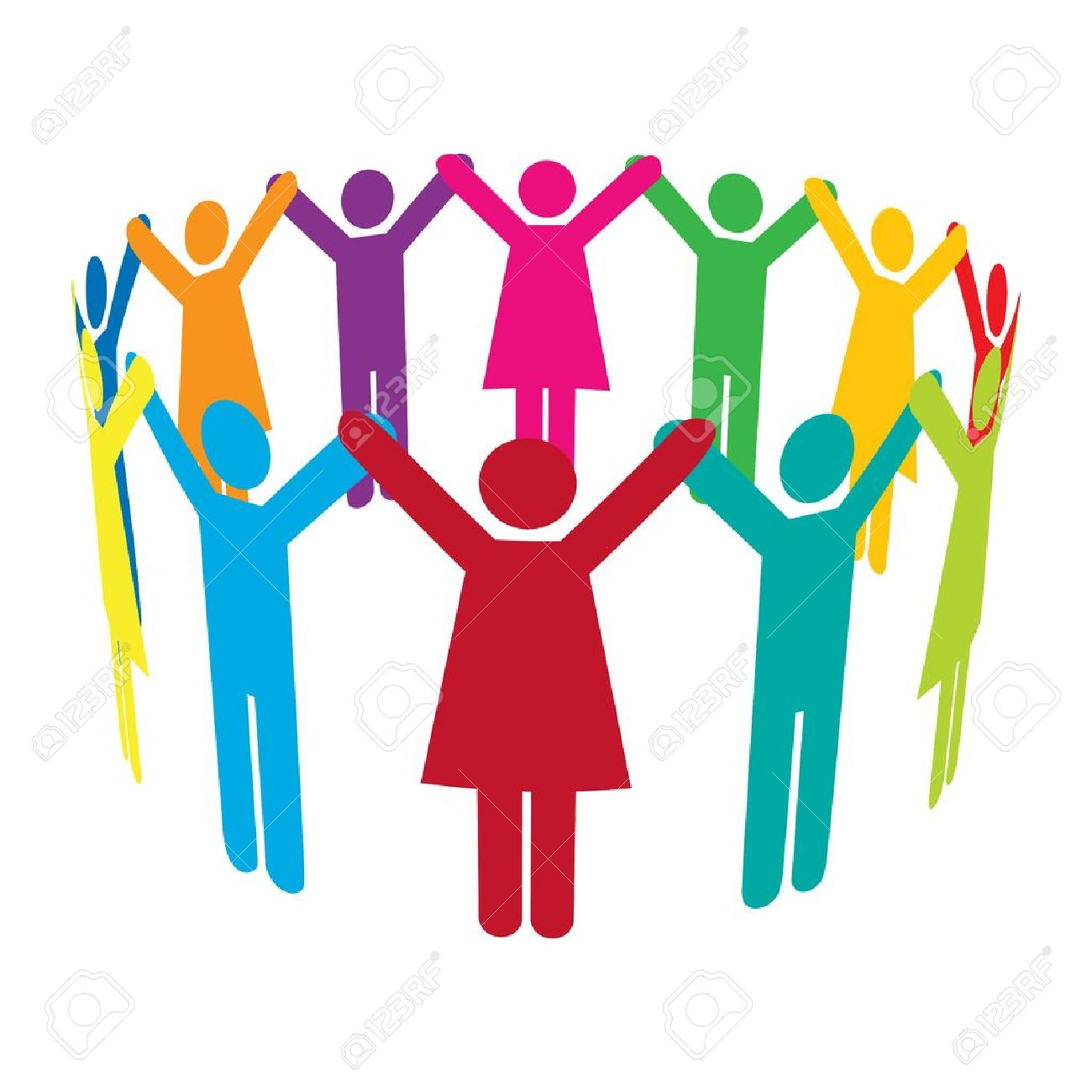 colourful people holding hands high up in a circle royalty free rh 123rf com Drawings of People Holding Hands Women Holding Hands Clip Art