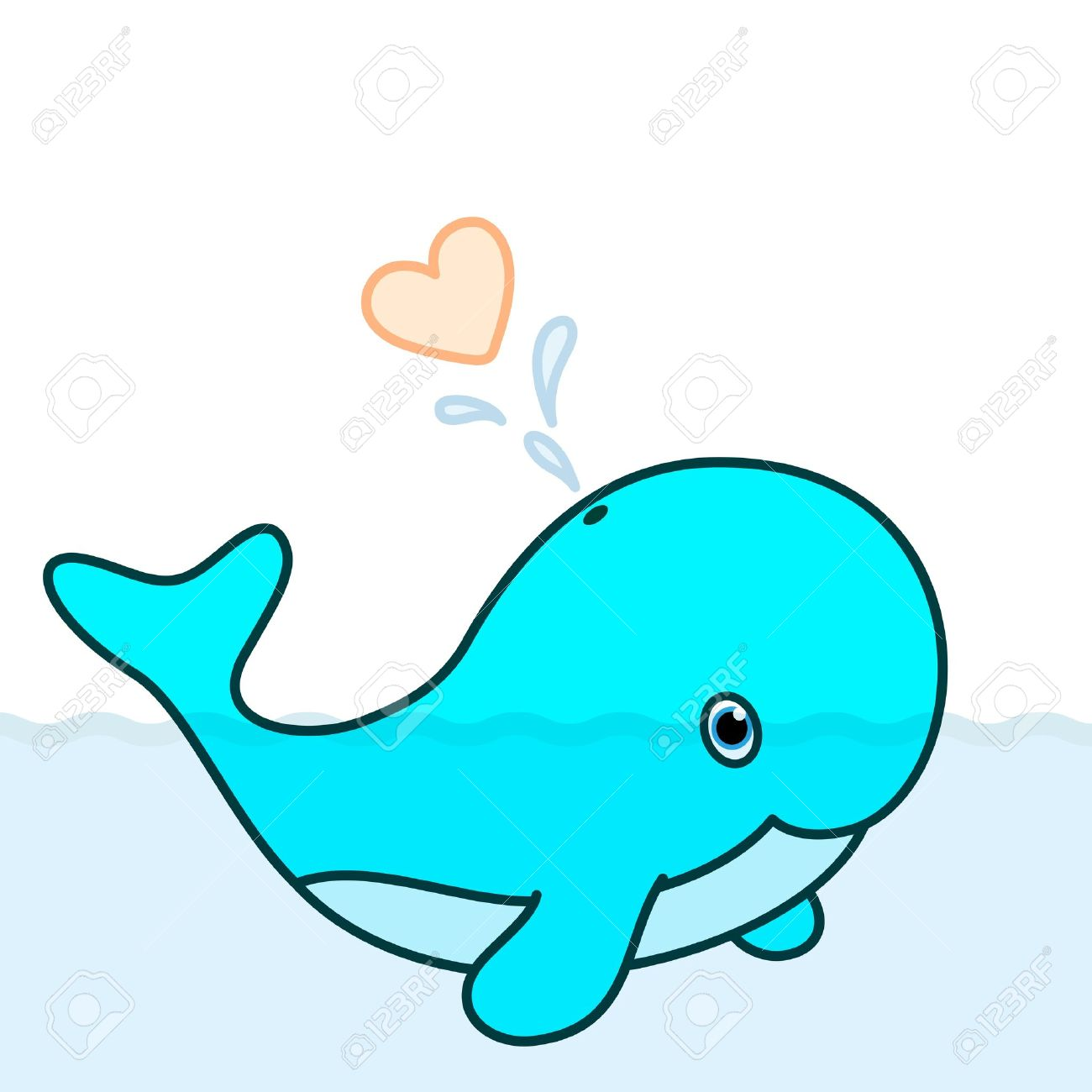 Cute whale in water cartoon isolated illustration stock photography - Cartoon Whale Cute Baby Whale Cartoon Character Blowing A Heart Water Splash