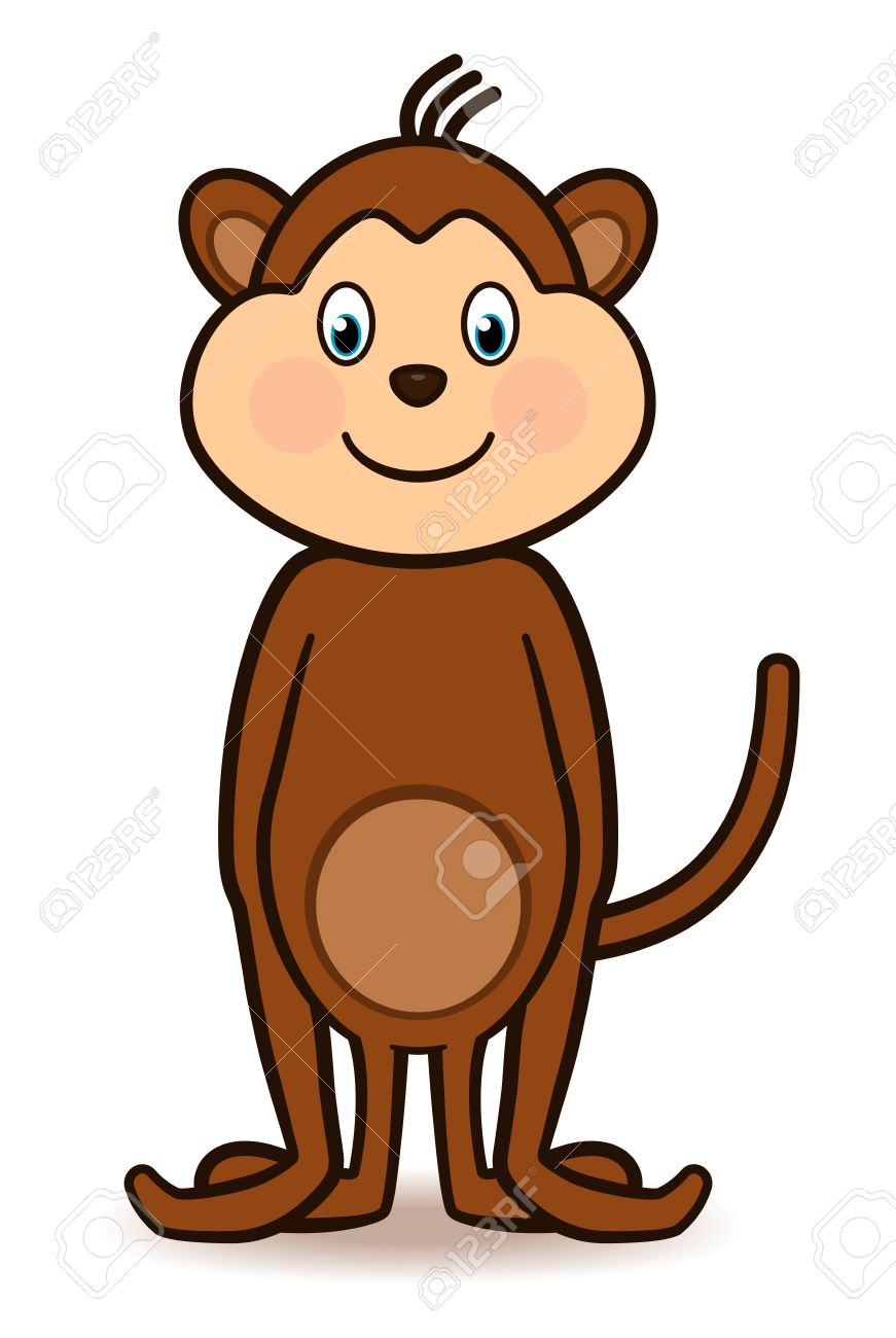 Cartoon character monkey standing with a big smiling face, arms to the side and tail lifted high Stock Vector - 14070545