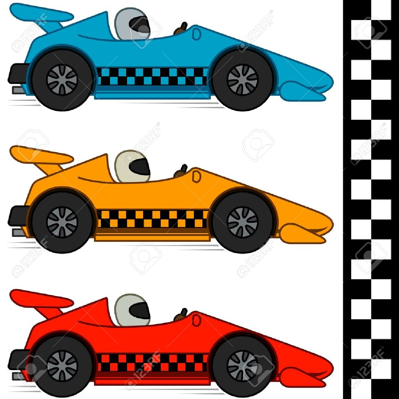 Racing cars and Finishing Line  Race Car Side View Clipart