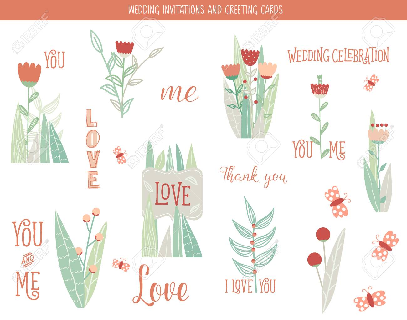 wedding invitation card with romantic flower templates royalty free