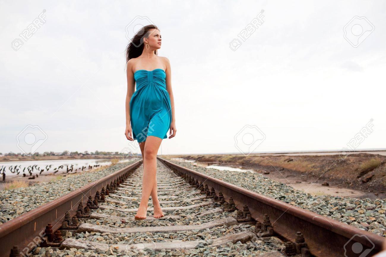 walking girl on the railway Stock Photo - 5442952