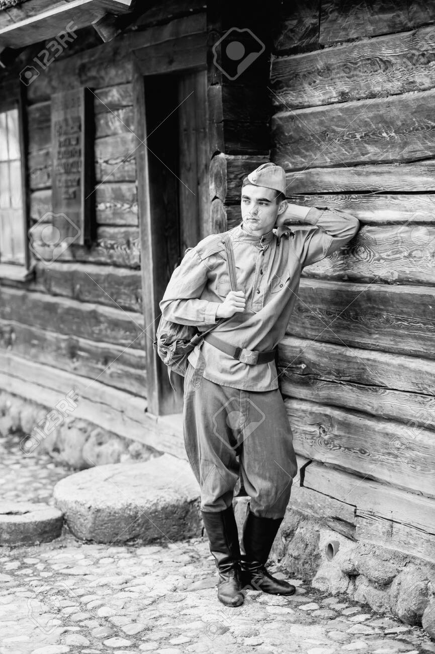 Young Soldier S Face   Vintage Photo Scan   About 20 Stock Photo ...