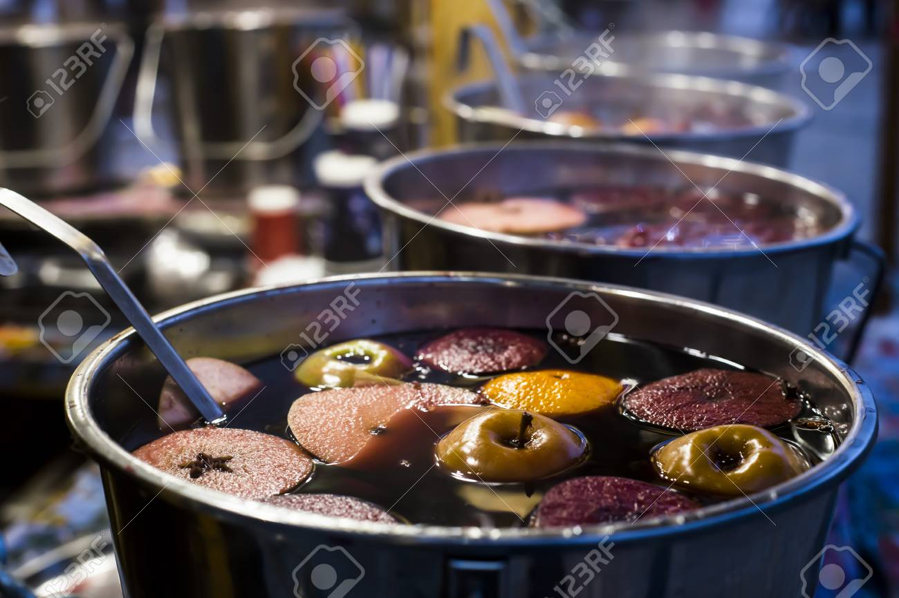 Mulled Wine Christmas Market.Hot Mulled Wine In A Metal Cauldron At The Christmas Market