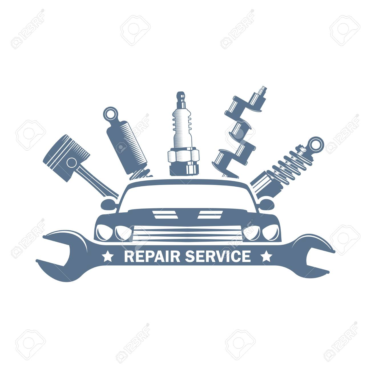 monochrome vector garage service logo - 97559367