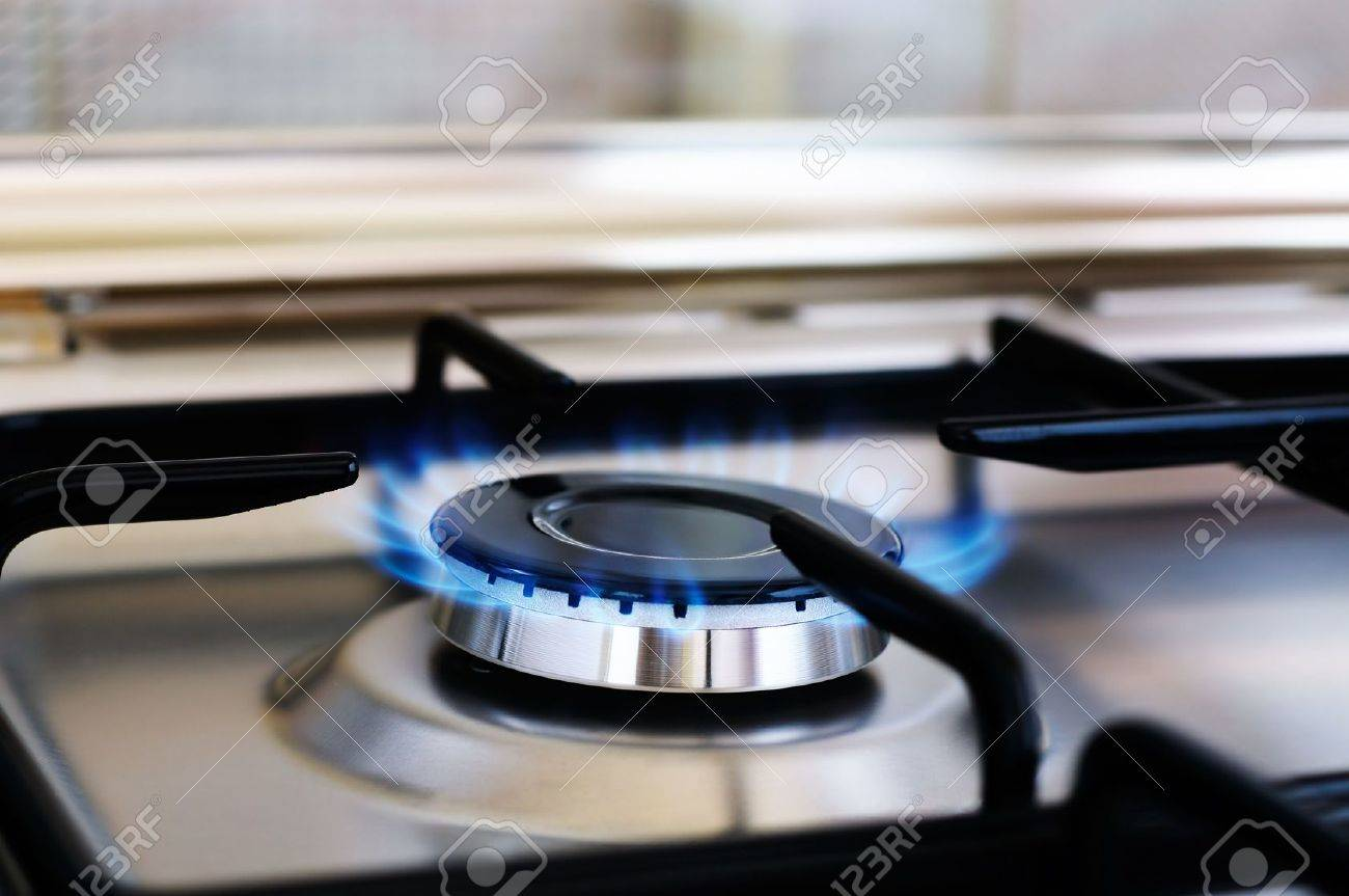 Burner of stainless steel gas cooker, selective focus Stock Photo - 6938682