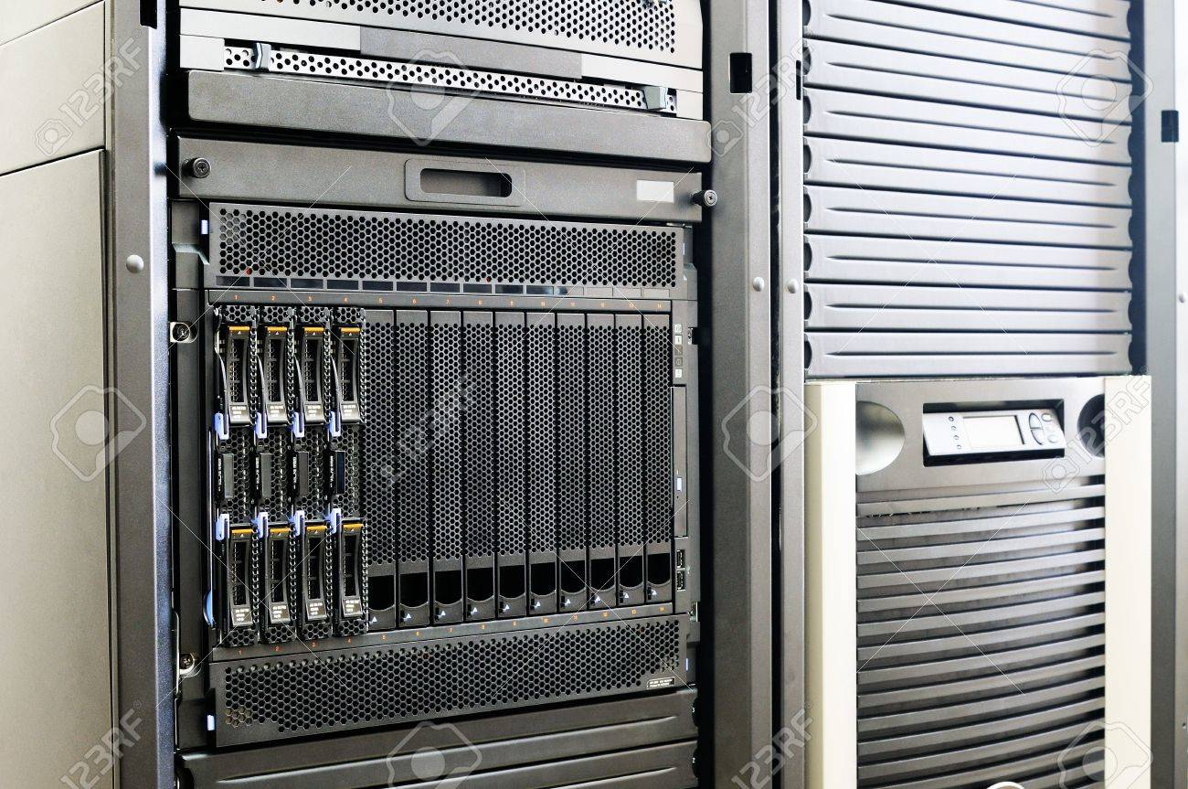 Blade servers and system storage in rack Stock Photo - 8703384