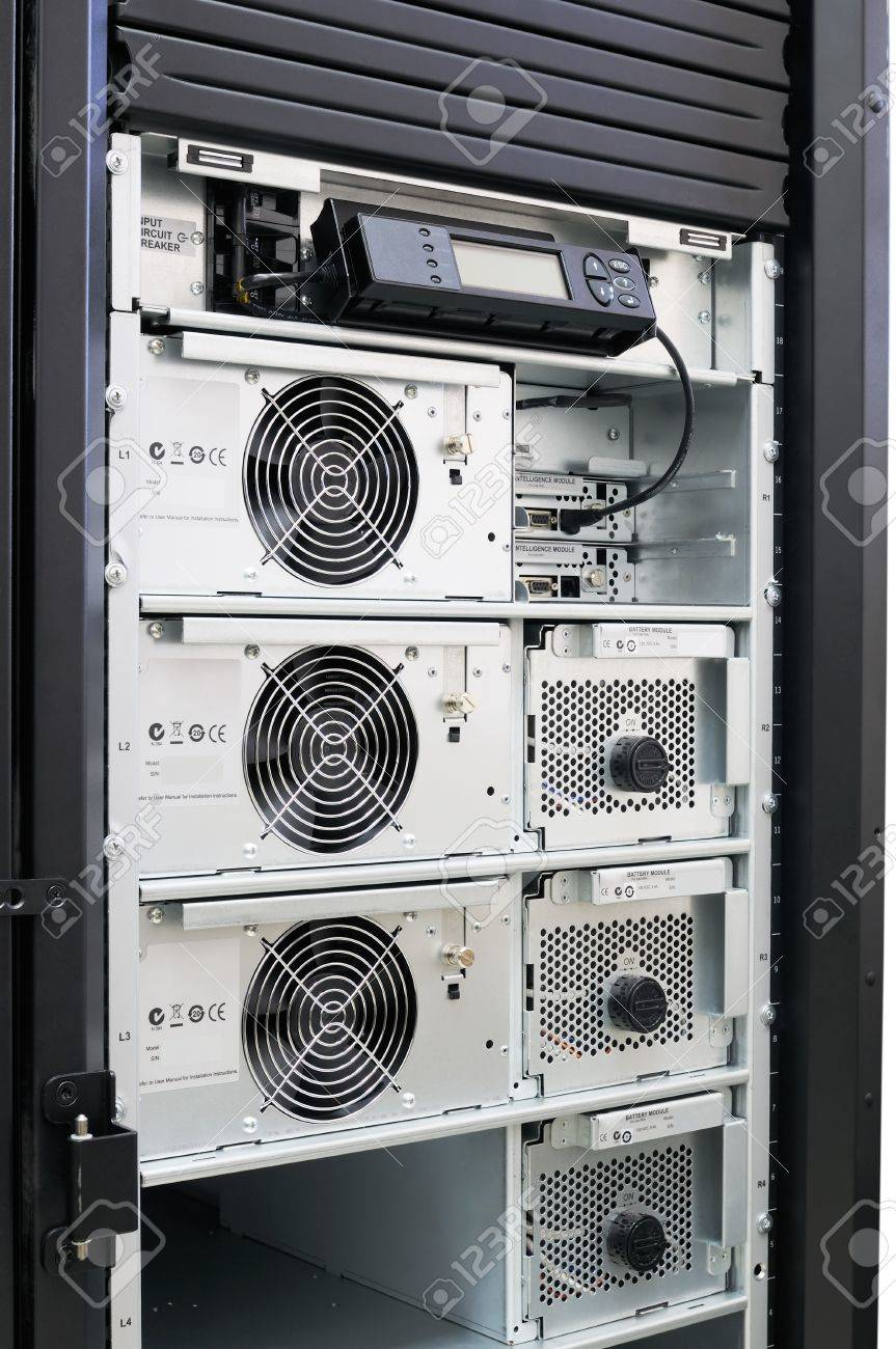 Rack mounted power supply system, open front door Stock Photo - 8703383