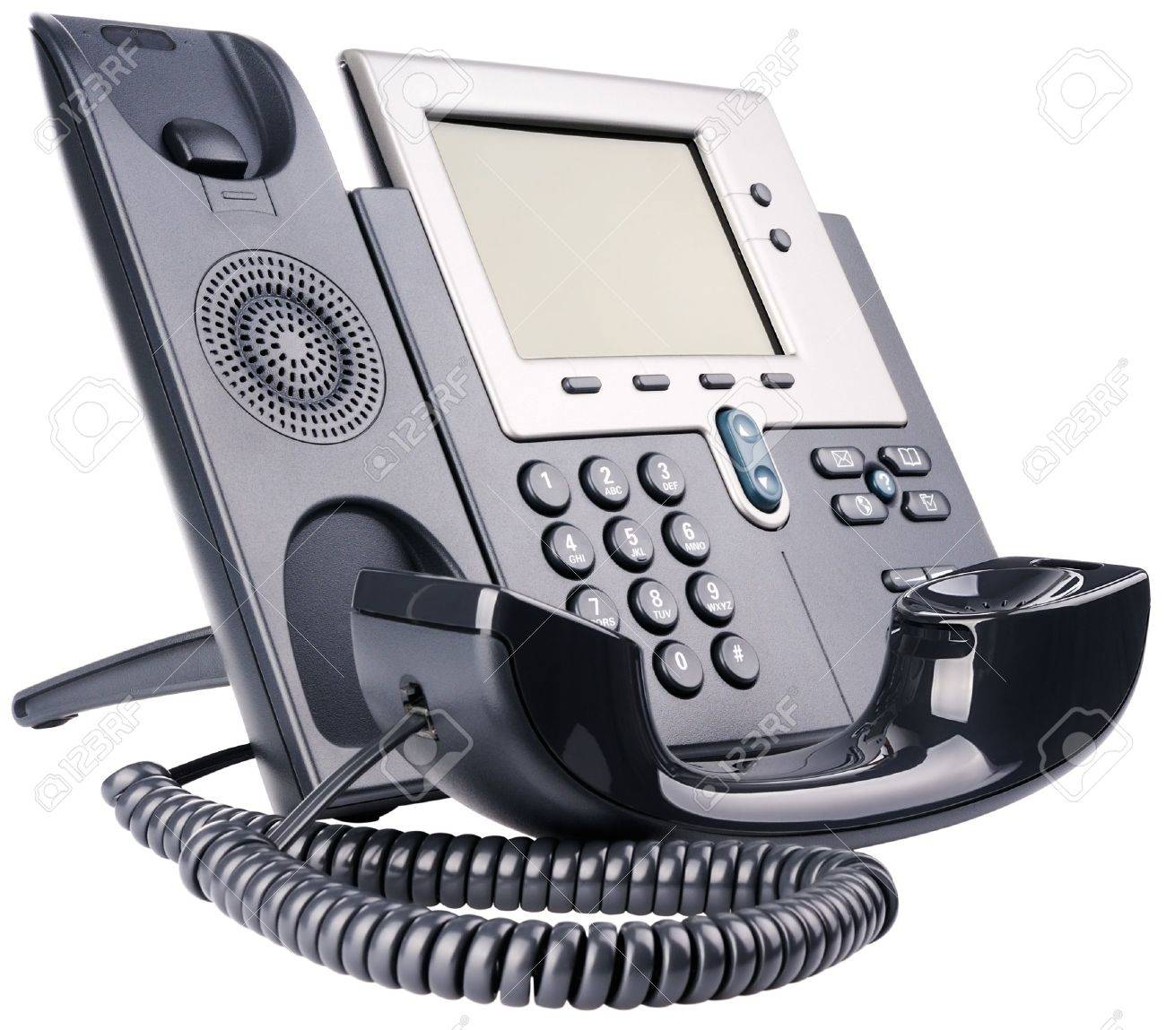 IP telephone set, off-hook, isolated on the white Stock Photo - 9404921