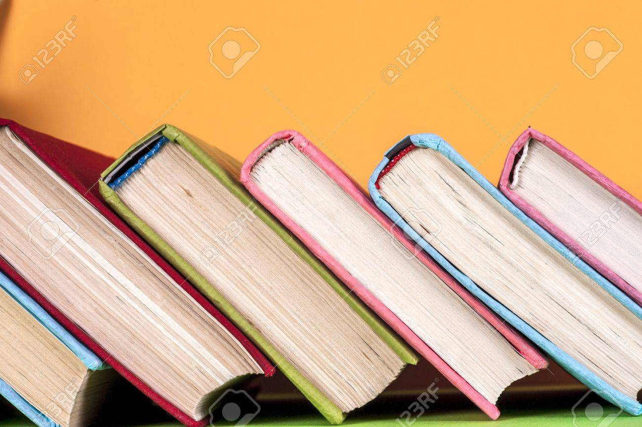 Set Of Colored Books On Bright Colorful Background. Back To School ...