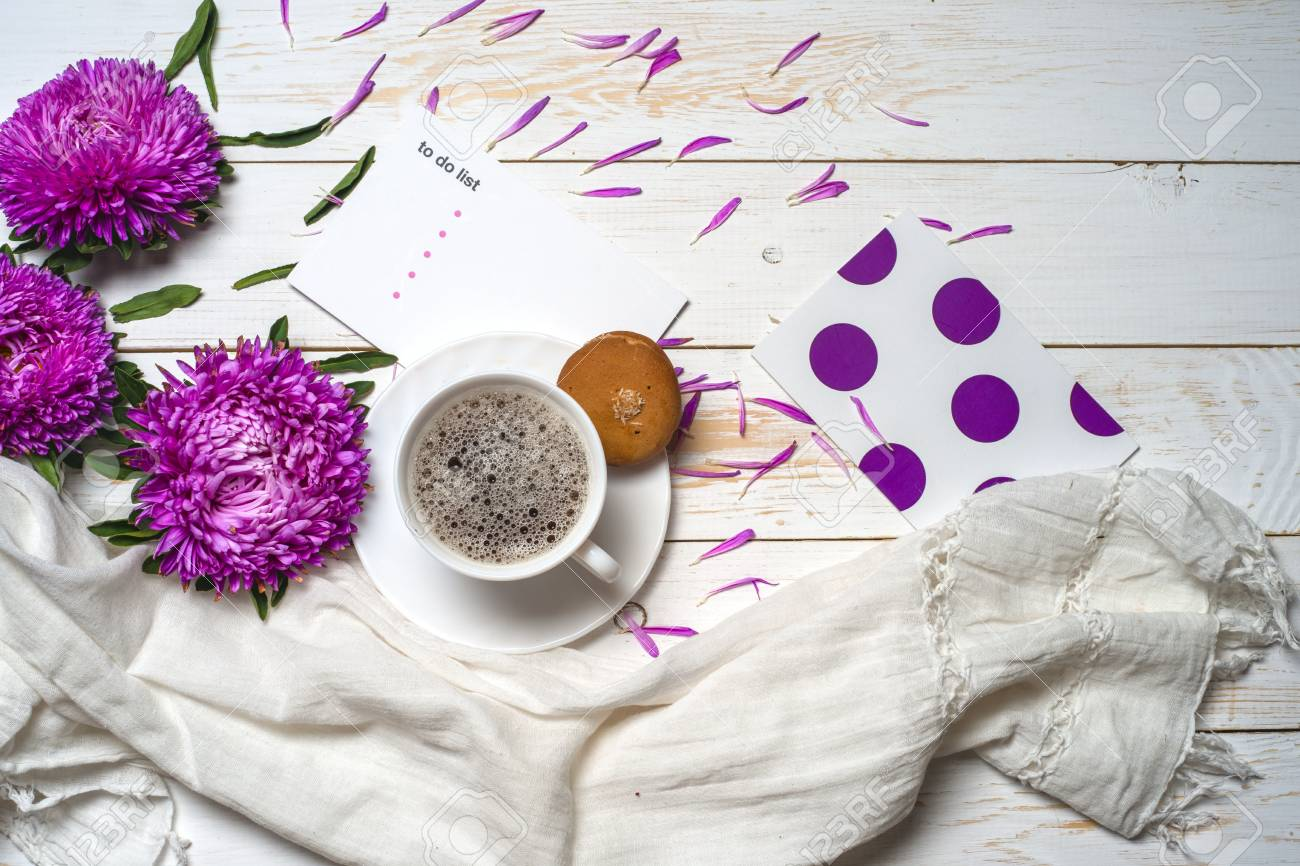 Word Relax With Cup Of Coffee And Pink Flowers Stock Photo Picture