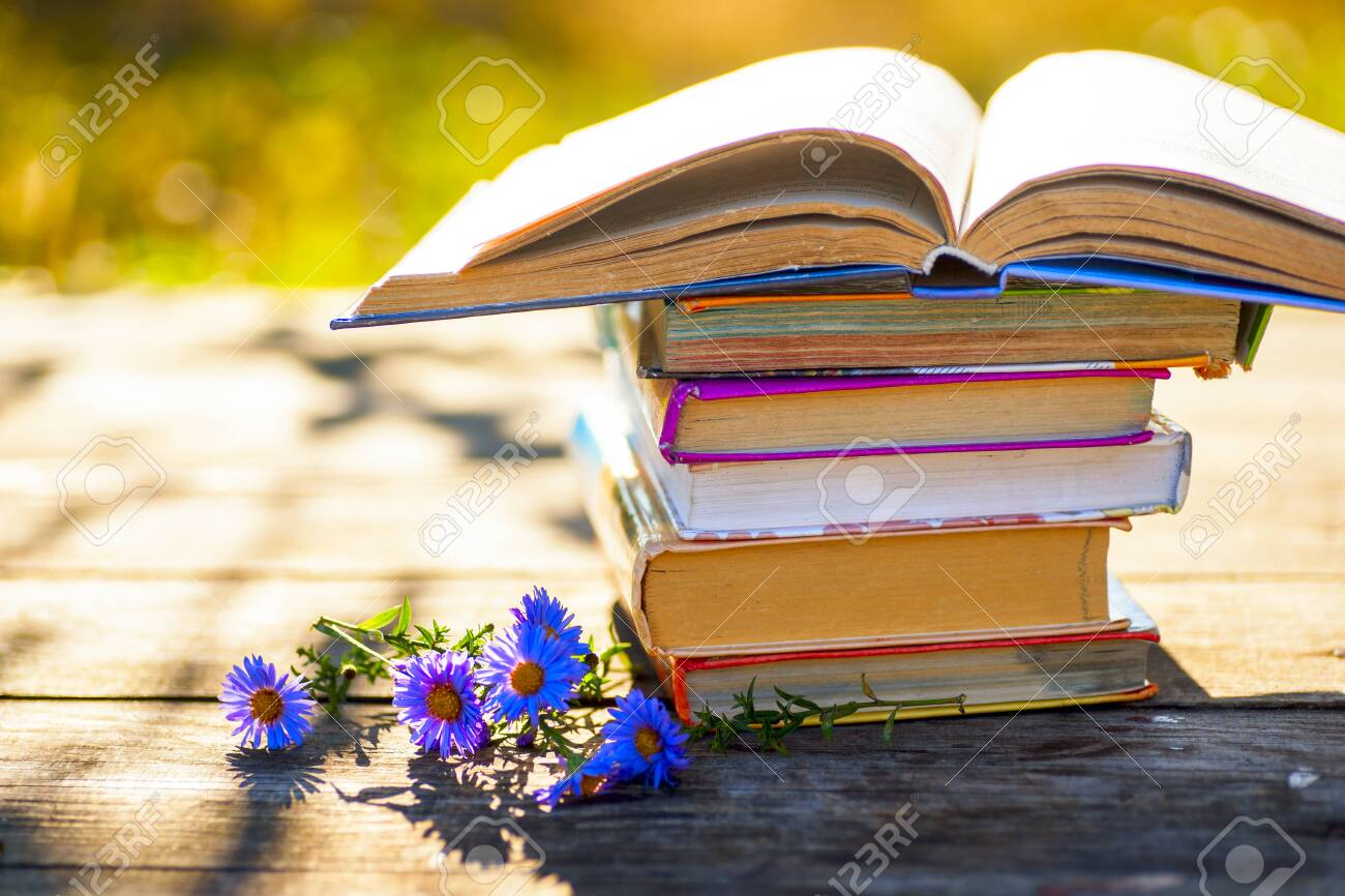Open book on wooden table on natural background. Soft focus - 130717963
