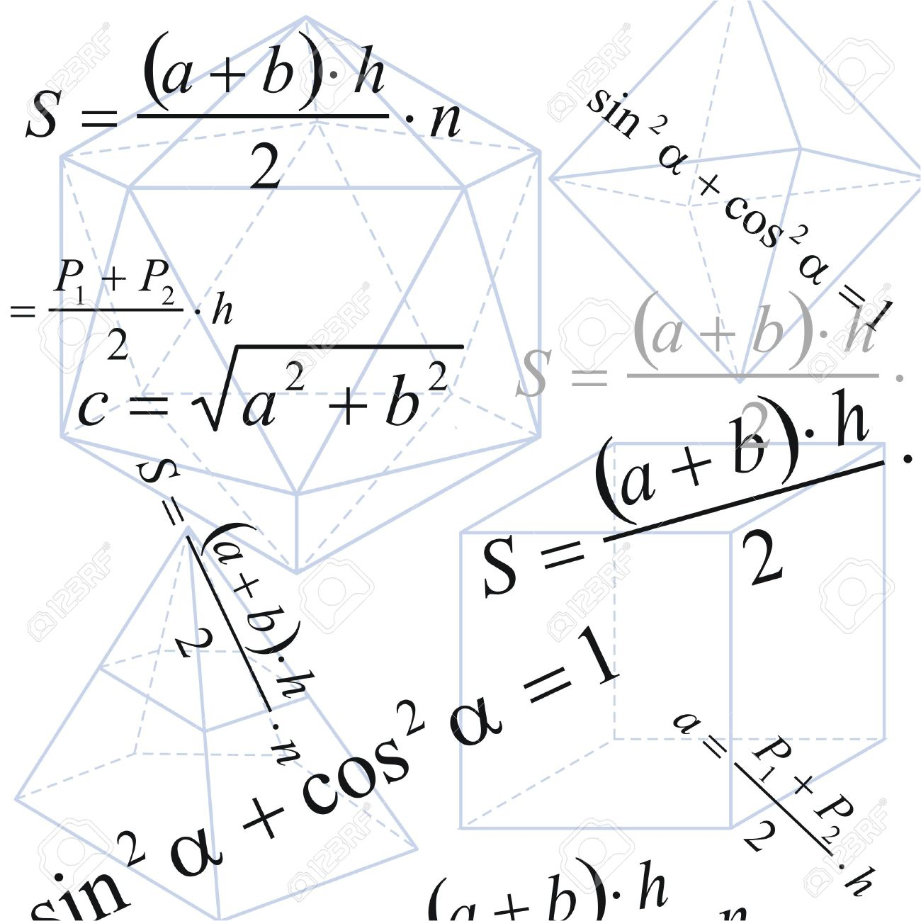 Geometry background with formula and figures on white paper Stock Photo - 3947151
