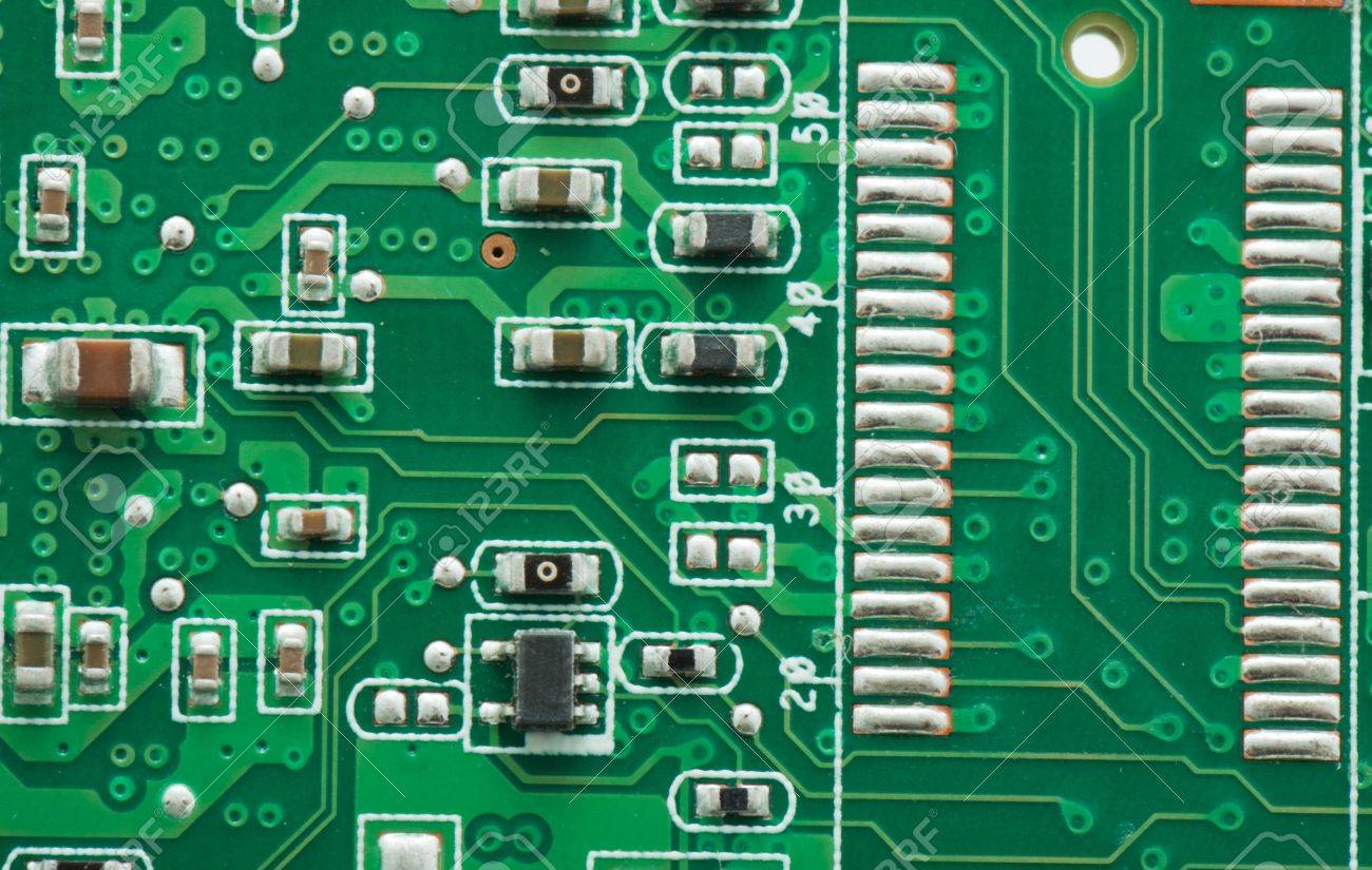 green circuit board with components stock photo picture and royalty rh 123rf com
