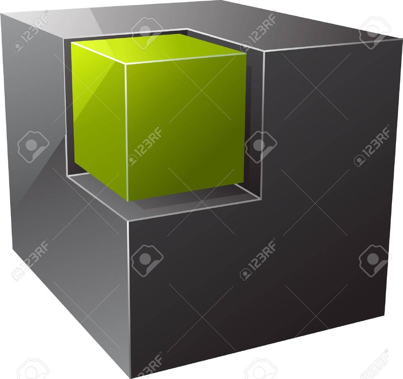 Black cube. Vector illustration - 8339222