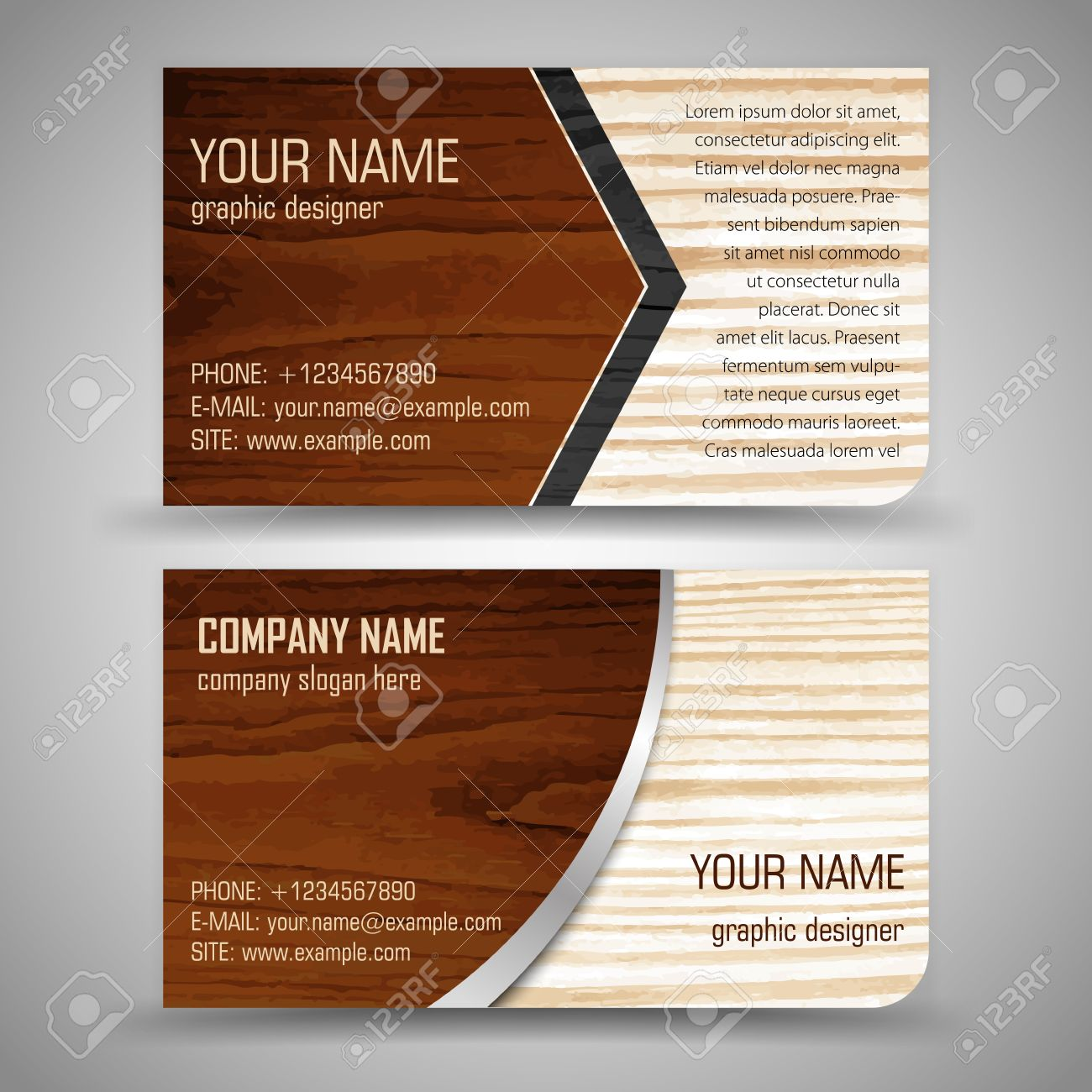 Abstract Creative Business Cards (set Template) Royalty Free ...