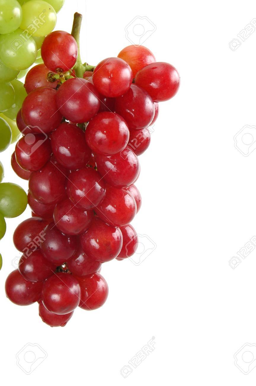 Beautiful bunch of green / white grapes over white background. Stock Photo - 838731
