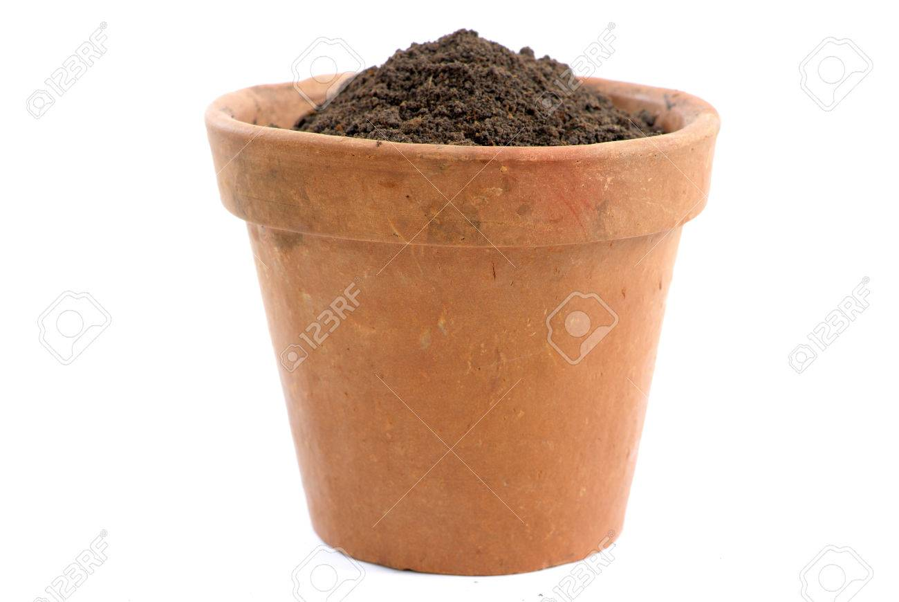 Mud vase with earth without a Plant Stock Photo - 1416117
