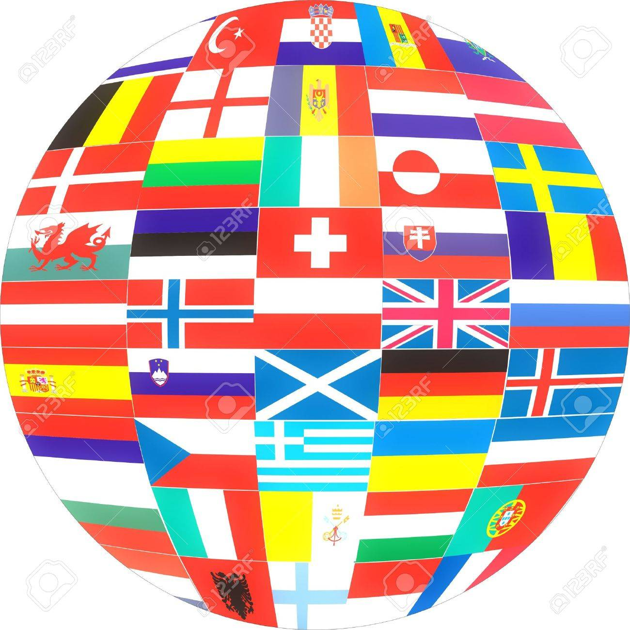 Flags of Europe Countries in a globe . Stock Photo - 2371042