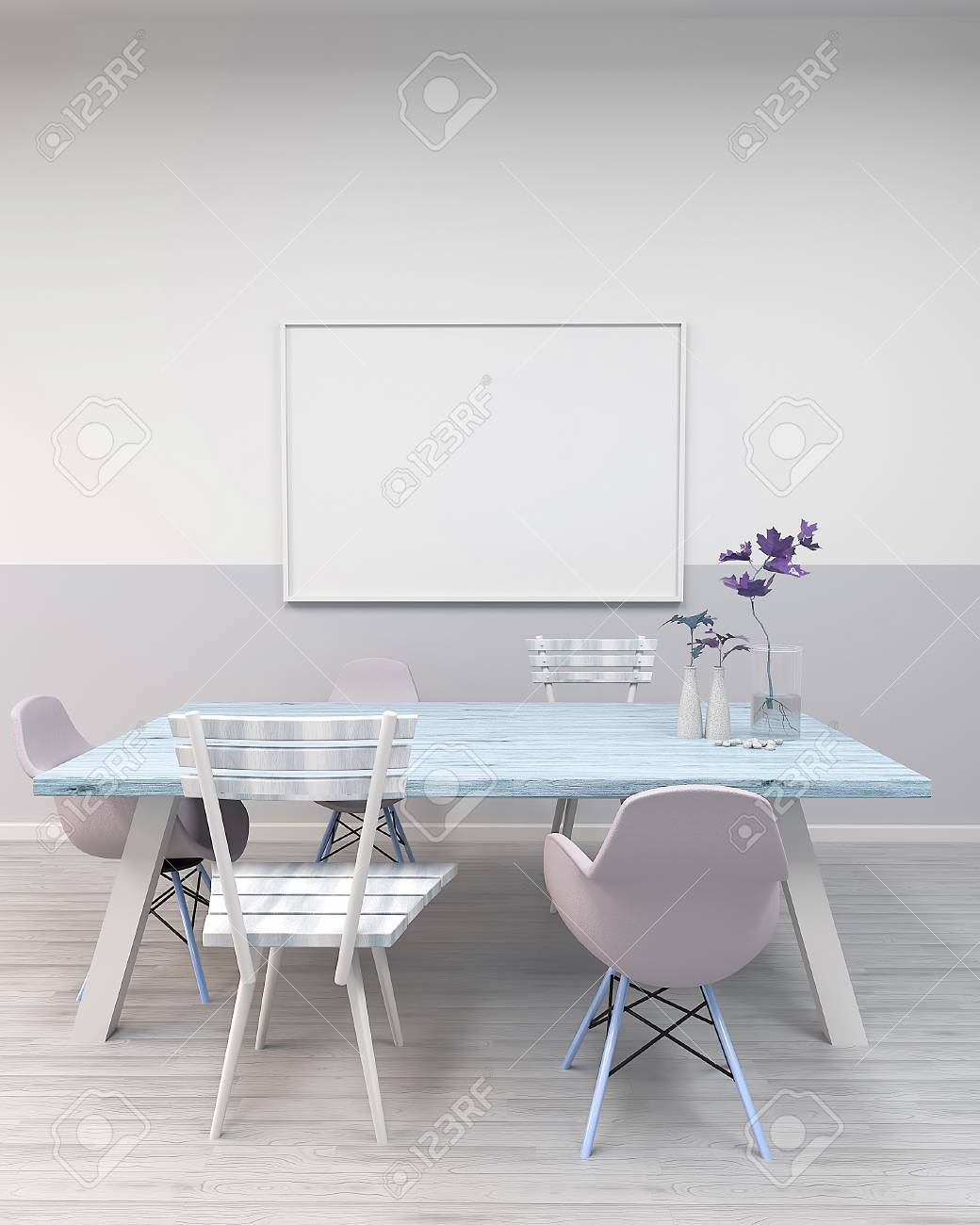 Maquette Encadre Affiche Table Et Chaises Dans Une Chambre Avec