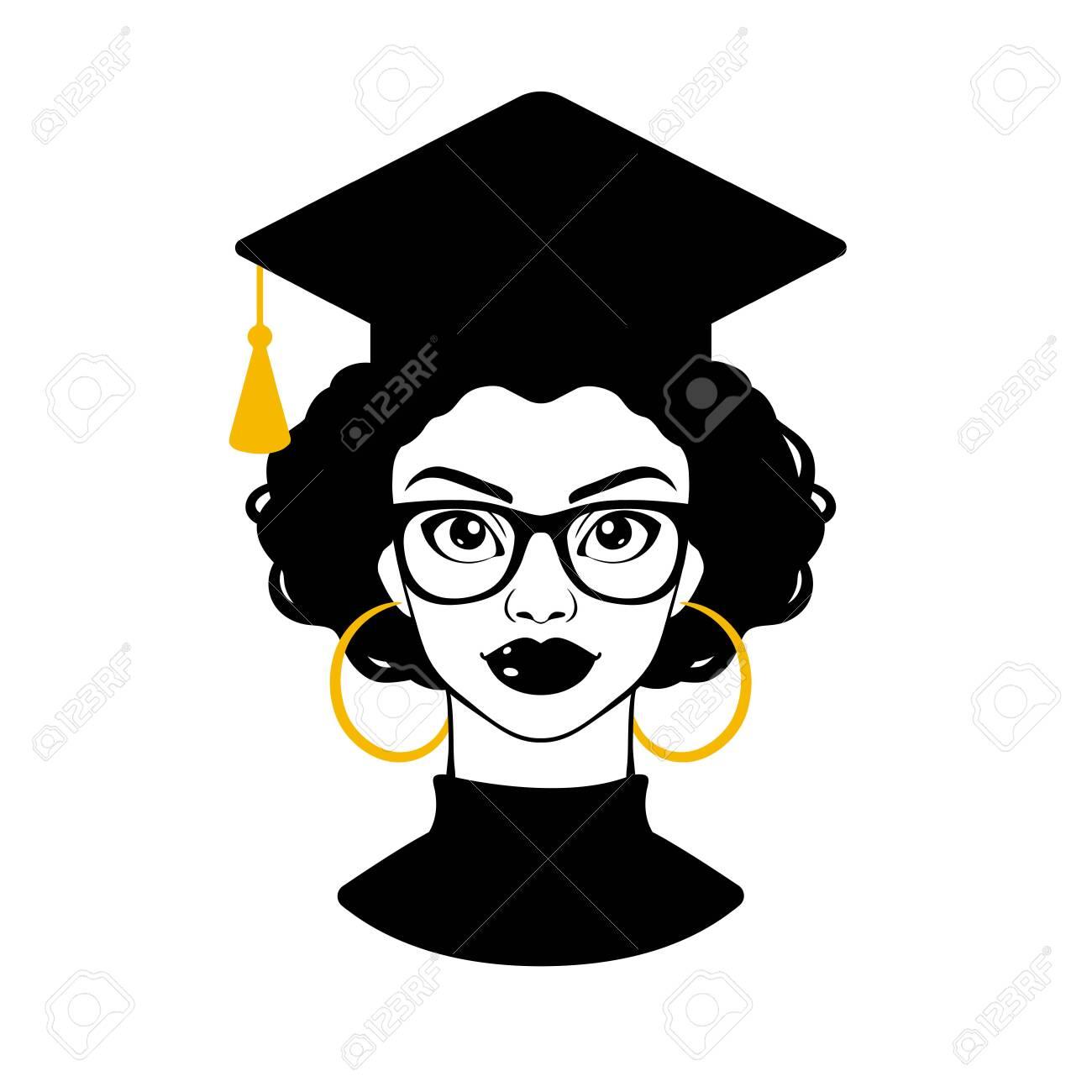 Graduate 2020. Graduation 2020. Senior 2020. Class of 2020. Black woman. Black girl in a graduation cap and glasses. College graduation. High school graduation. Vector clipart - 154610026