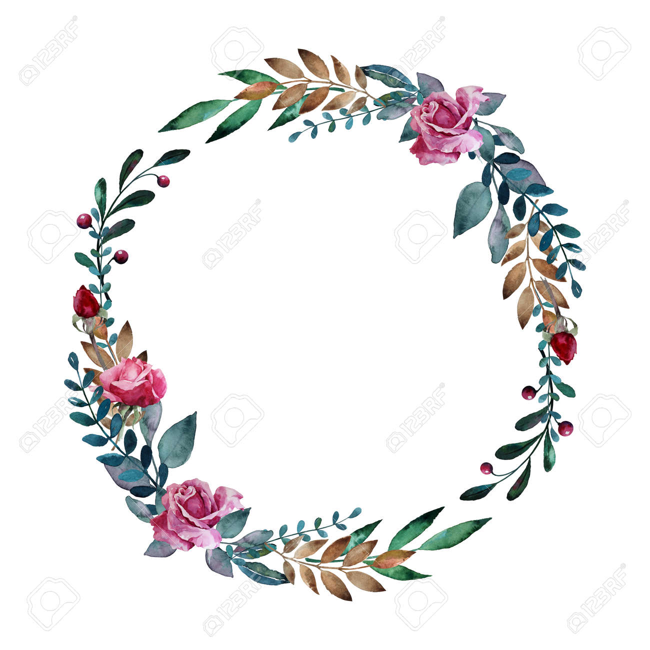 Watercolor floral wreath with pink roses, leaves and berries. Hand drawn round floral frame - 166705528