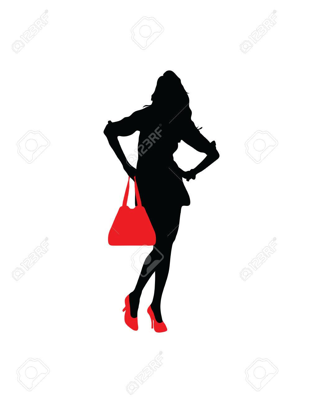 d54919da9 Silhouette of a lady with red shoes and handbags Stock Vector - 62769819