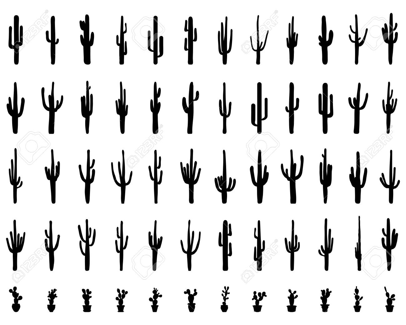 Black silhouettes of different cactus on the background - 148800752