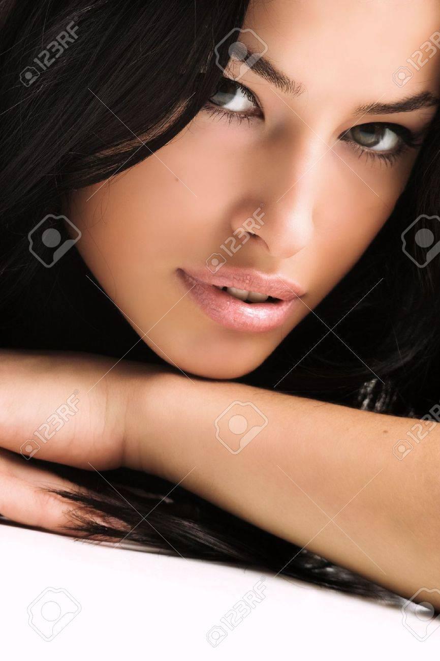 black hair young woman portrait, studio shot Stock Photo - 2843114