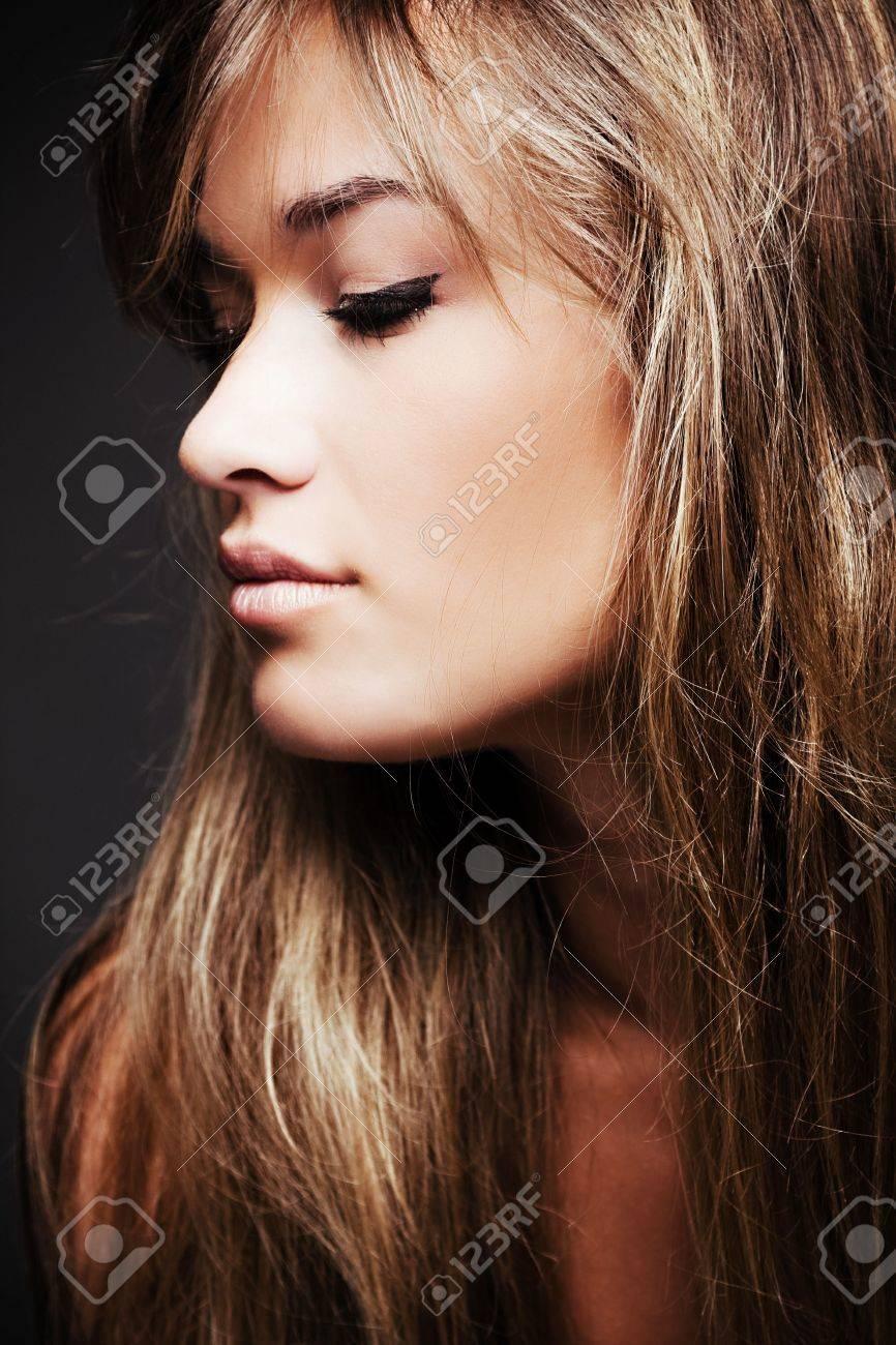 beautiful blond young woman profile Stock Photo - 4941896