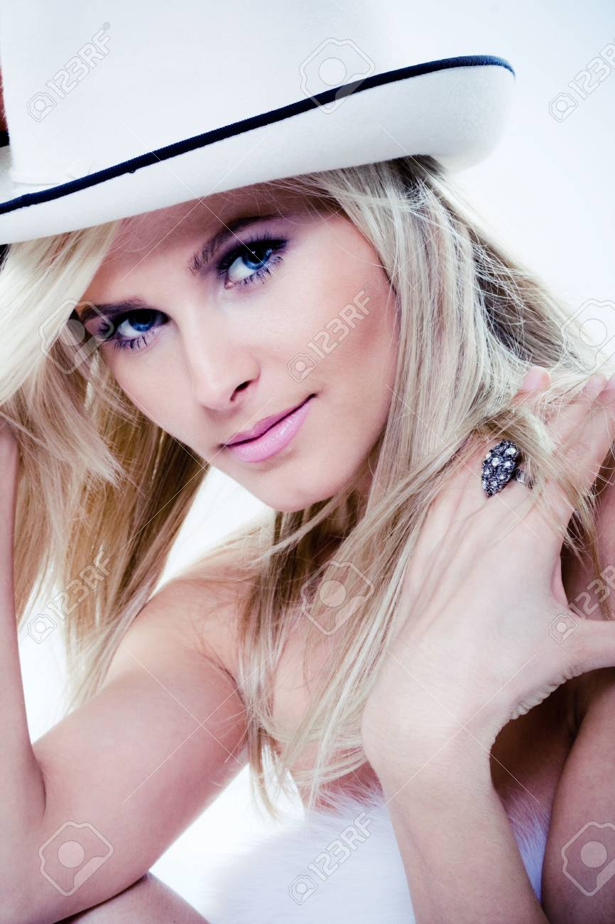 blond face with white hat, closeup portrait Stock Photo - 4972403